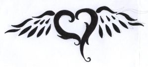 heart and wings tattoo design by BlueJessieJem
