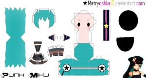 Punk Miku Hatsune Papercraft by matryoshka12