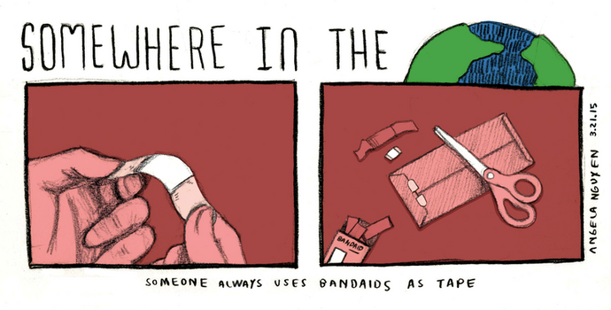 Somewhere in the World: Tape Bandaids by pikarar