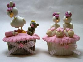 cupcakes - baby shower - stork by anafuji