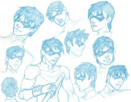 Nightwing sketches by pyrogina