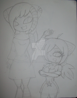 :WIP: Cordeila and Chan-Chan -Art Trade- by xMidnightWhispers