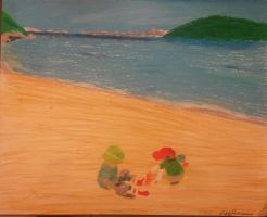 Kids at Beach- Pastel Oil art. Amazing by shaolin6657