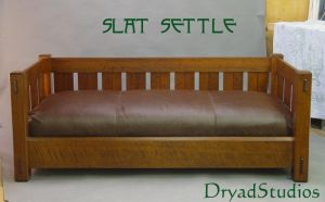 Slat Settle:daybed-w-cushion by DryadStudios