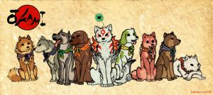 Amaterasu and the Satomi dogs by Scarfowl