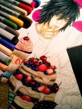 Sketch: Death Note FA - L  by Hallowie29