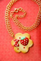 Red Strawberry Cookie Necklace by TangerineTaiyaki