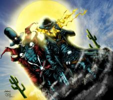 Gunslinger Spawn and Ghost Rider.... Sunrise by Ta2dsoul