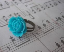 Teal Rose Ring by LKJSlain