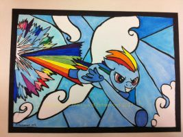 Rainbow Dash Rainboom postcard SOLD by mialythila