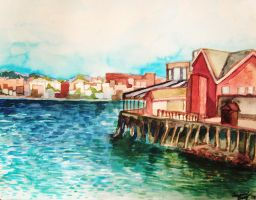 Boston Harbor watercolor study by HedgehogBeeblebrox