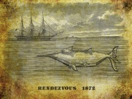 Submarine Boat Rendezvous Old Illustration by Coscomomo