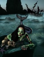 Zombie Mermaid by DirtyLittleDog