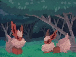 Flareons in the forest by cartoonboyplz