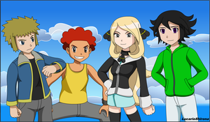Pokemon - Young Cynthia, Flint, Volkner and Dion by LucarioShirona