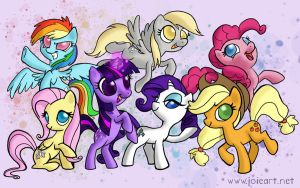 Mane Six + Derpy Desktop Wallpaper by JoieArt