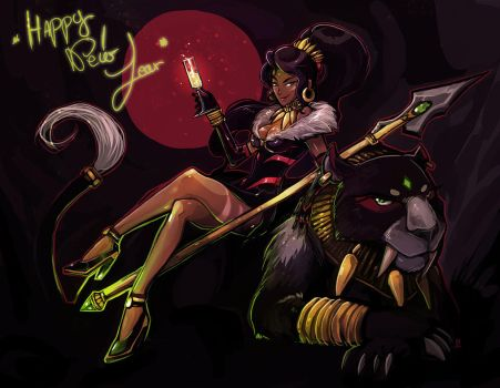 Nidalee New Year - Speed painting by oOCherry-chanOo