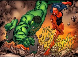 Red She hulk is super punching the incredible hulk by Mastersandy