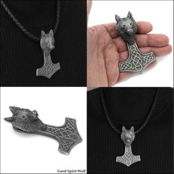 Tribal Wolf Head Mjolnir Totem on Leather Necklace by GoodSpiritWolf