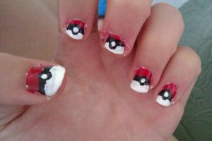 Pokeball nails~Red! by LadyEdile