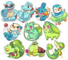 Pokemon Water and Grass starters by BuraMathews