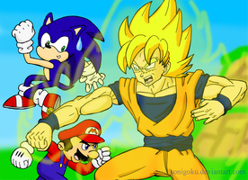 Mario and Sonic VS Son Goku by sonigoku