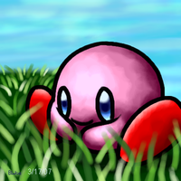 Kirby in Tall Grass by G-Bomber