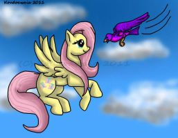 Fluttershy and a Feathered Friend by KoudoawaiaVortex