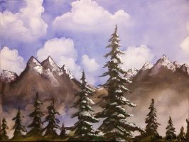 clouds, mountains, trees by scribelanea