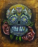Gold Sugar Skull and Rose tattoo design by L-E-F-T