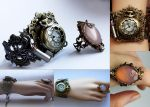 Set of steampunk cuff and pale pink ring by Pinkabsinthe