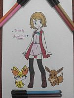 Serena With Eevee and Fenniken~Hand Drawing-21 by TheKalosQueenSerena
