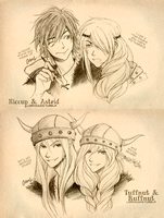 HTTYD: Hiccup and Astrid. Tuffnut and Ruffnut. by germanmissiles