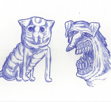 ball point cat and ball point dog by f3tu5