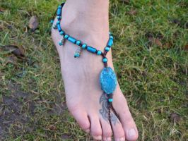OOAK Barefoot Sandal Anklet with Blue Agate by noisypixie