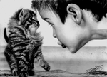 Boy and Kitten by Yankeestyle94