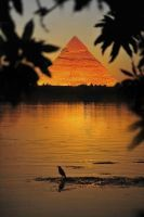 pyramid hug the Nile_ Egypt by wolfreen