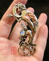 Griffin Brooch with Moonstone by somk