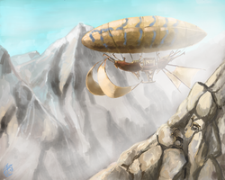 Airship in the mist by Crowsrock