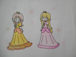 bubbly peach and daisy by tomboyprincess