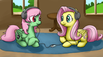 Cadance and Fluttershy listening to music by Bill-the-Pony