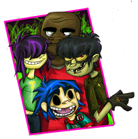 A better Gorillaz drawing. by Moopdrea
