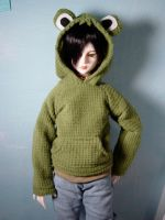 Frog Hoodie for SD13 sized BJD by Tsukiyono-Miyu