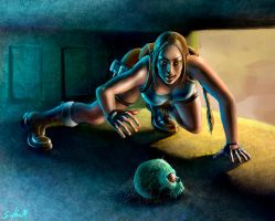 lara croft and the skull artifact by Sophia-M