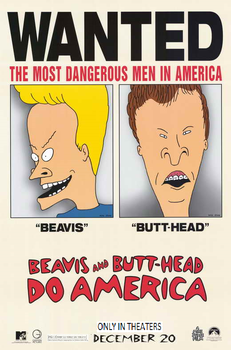 Beavis And Butthead Do America 1996 Teaser Poster by lflan80521