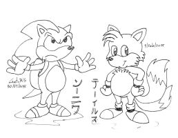 Sonic + Tails by gato303co