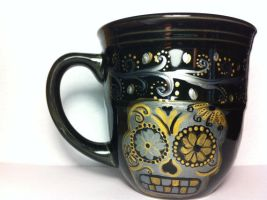 Silver and Gold Sugar Skull Mug for sale by InkyDreamz