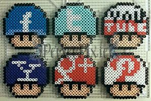 Social Network Mushrooms by PerlerPixie