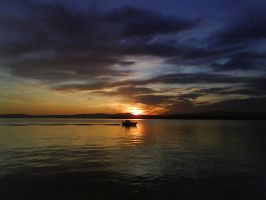 Sunset with boat by Ingalill82