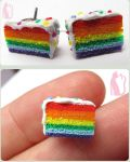 Rainbow cake earrings by Talty